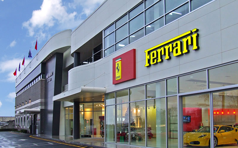 Ferrari Maseratti auto dealership entrance